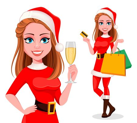Merry Christmas. Beautiful woman in Santa Claus costume, set of two poses. Cute cartoon character. Vector illustration on white background Vettoriali