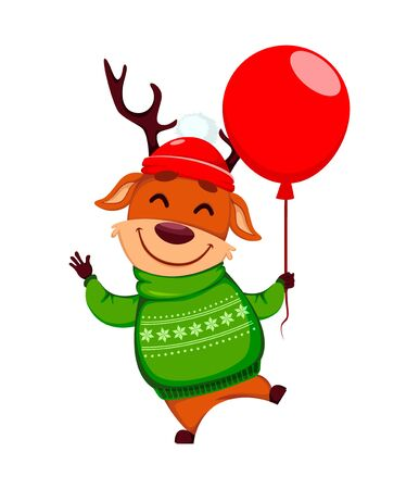 Merry Christmas. Funny reindeer with balloon. Cute cartoon character. Vector illustration on white background