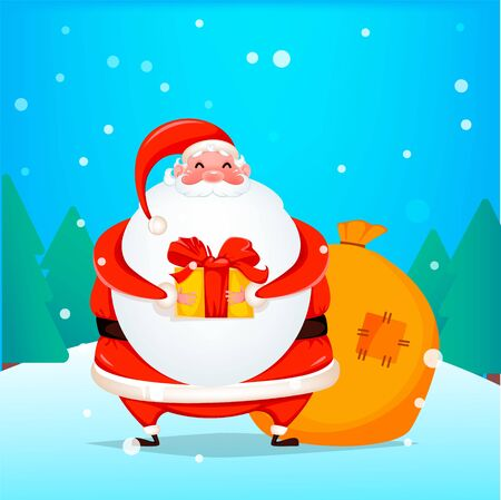 Merry Christmas. Cheerful Santa Claus holding gift box. Funny Santa cartoon character. Vector illustration with winter forest on background