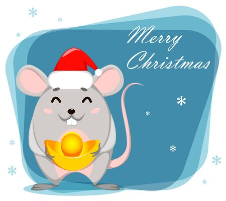 Merry Christmas greeting card. Funny cartoon character rat. Vector illustration.  向量圖像