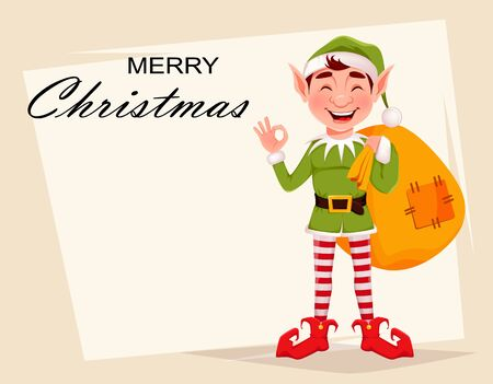 Merry Christmas greeting card with funny Elf. Santa Claus helper Elf holding big sack with presents. Cartoon character. Vector illustration