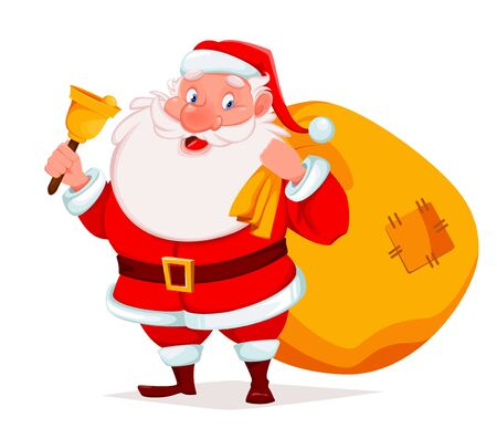 Merry Christmas. Cheerful Santa Claus holding bell and sack with presents. Funny Santa cartoon character. Vector illustration on white background