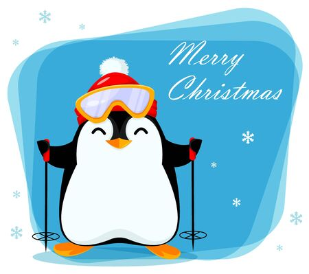 Merry Christmas greeting card with cute little penguin goes skiing. Funny penguin cartoon character. Vector illustration.