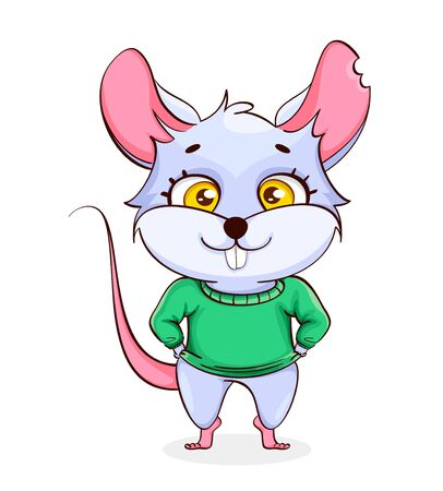 Rat cartoon character. Funny rat on white background. Vector illustration