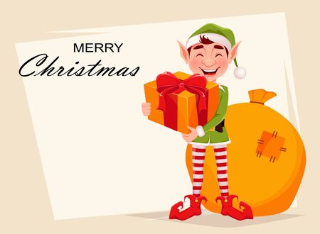 Merry Christmas greeting card with funny Elf. Santa Claus helper Elf holding gift box. Cartoon character. Vector illustration