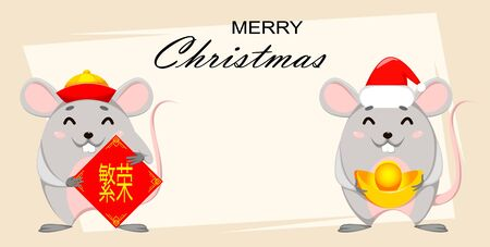 Merry Christmas and Happy New Year greeting card. Two funny cartoon rats. Vector illustration. Lettering translates as prosperity