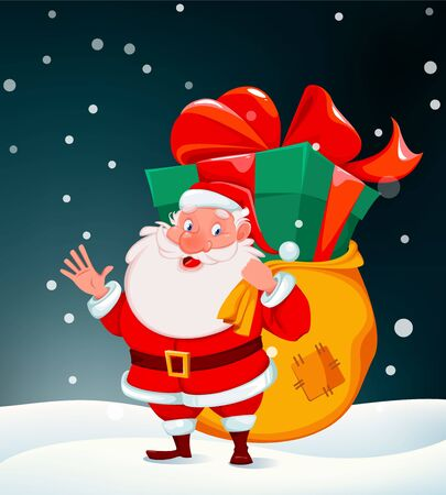 Merry Christmas greeting card with Santa Claus holding bag full of presents. Funny cartoon character. Vector illustration for holiday