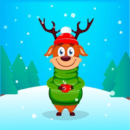 Merry Christmas greeting card with funny reindeer holding a cup of hot coffee. Cute cartoon character. Vector illustration with winter forest on background