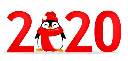 Happy New Year greeting card with number 2020 and funny penguin on place of zero. Vector illustration on white background 向量圖像