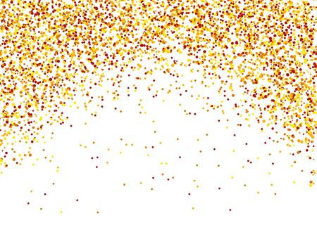 Falling confetti. Red, yellow and orange dots. Glitter banner for greeting card, banner, invitation. Christmas pattern. Vector illustration