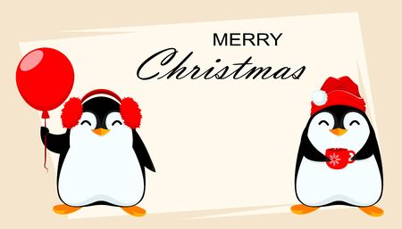 Merry Christmas greeting card with two funny penguins. Cute cartoon characters. Vector illustration