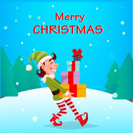 Merry Christmas. Funny Elf carries gift boxes. Santa Claus helper Elf. Cartoon character. Vector illustration