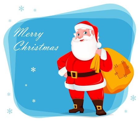 Merry Christmas greeting card with Santa Claus holding big sack full of presents. Cheerful cartoon character. Vector illustration on blue background with snowflakes