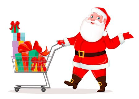 Merry Christmas. Cheerful Santa Claus with shopping cart full of presents. Funny Santa cartoon character. Vector illustration on white background 向量圖像