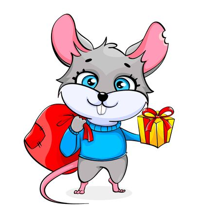 Rat cartoon character holding sack with presents and gift box. Funny rat on white background. Vector illustration 向量圖像