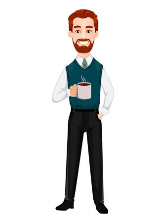 Successful business man. Handsome businessman holding a cup of hot coffee. Cheerful cartoon character. Vector illustration on white background