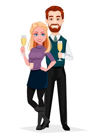 Romantic couple standing with champagne. Cheerful cartoon characters. Merry Christmas and Happy New Year. Vector illustration isolated on white background