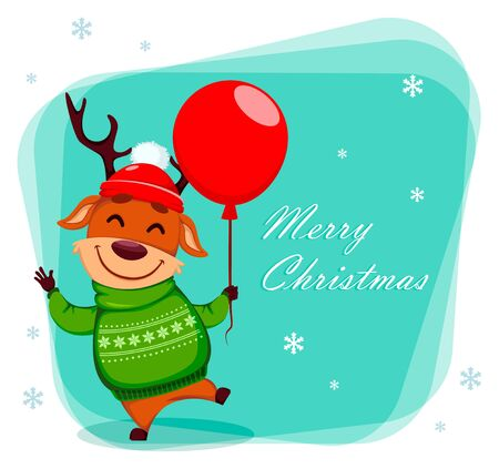 Merry Christmas greeting card with funny reindeer holding red balloon. Cute cartoon character. Vector illustration