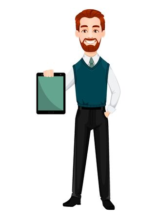 Successful business man. Handsome businessman holding tablet. Cheerful cartoon character. Vector illustration on white background