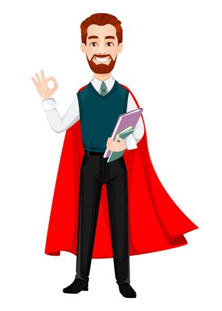 Successful business man. Handsome businessman wearing superhero cloak. Cheerful cartoon character. Vector illustration on white background Çizim