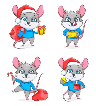 Rat, symbol of New Year 2020, set of four poses. Funny rat, cute cartoon character. Vector illustration on white background
