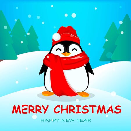 Cute little penguin in winter forest. Funny Christmas penguin cartoon character wearing warn hat and scarf. Vector illustration. 向量圖像