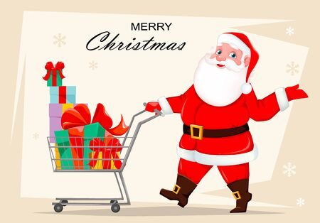 Merry Christmas. Cheerful Santa Claus with shopping cart full of presents. Funny Santa cartoon character. Vector illustration 向量圖像