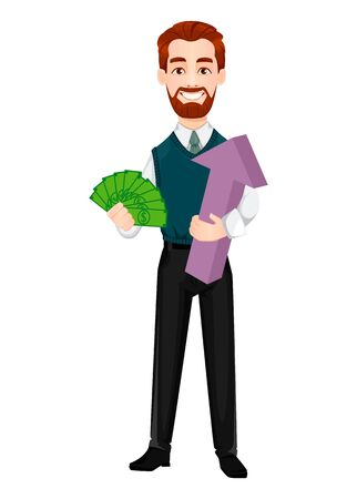Successful business man. Handsome businessman holding money and arrow. Cheerful cartoon character. Vector illustration on white background 向量圖像