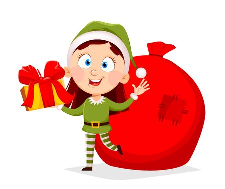 Merry Christmas greeting card with funny lady Elf. Female Santa Claus helper Elf holding gift box. Cartoon character. Vector illustration 向量圖像