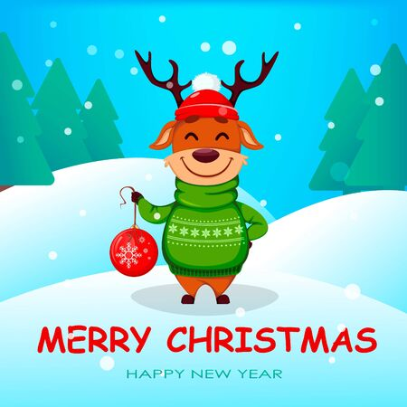 Merry Christmas greeting card with funny reindeer holding Christmas tree ball. Cute cartoon character. Vector illustration with winter forest on background 向量圖像