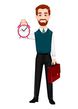 Successful business man. Handsome businessman holds alarm clock and briefcase. Cheerful cartoon character. Vector illustration on white background