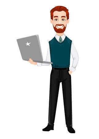 Successful business man. Handsome businessman holds modern laptop. Cheerful cartoon character. Vector illustration on white background 向量圖像