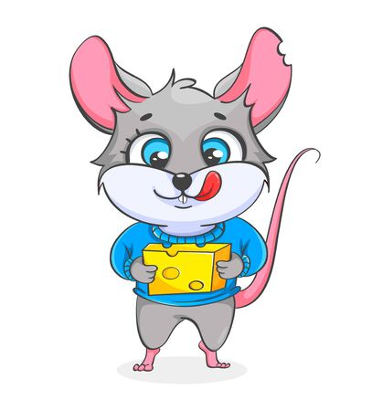 Rat holding cheese. Funny rat, cute cartoon character. Vector illustration on white background 向量圖像