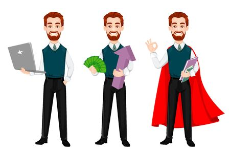 Successful business man, set of three poses. Handsome businessman. Cheerful cartoon character. Vector illustration on white background 向量圖像