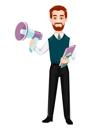 Successful business man. Handsome businessman holds loudspeaker. Cheerful cartoon character. Vector illustration on white background