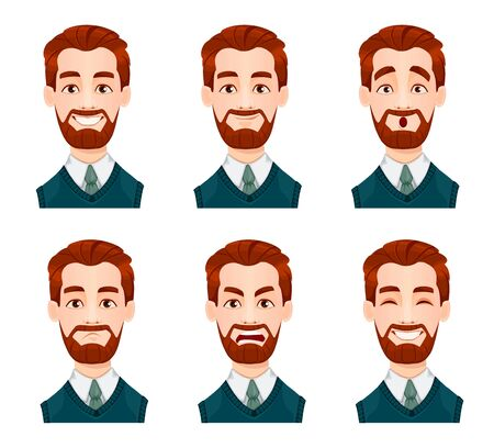 Face expressions of business man. Different male emotions set. Handsome cartoon character. Vector illustration isolated on white background.