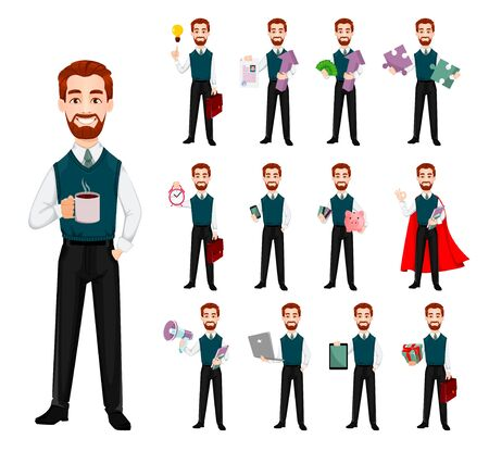 Successful business man, set of thirteen poses. Handsome businessman. Cheerful cartoon character. Vector illustration on white background 向量圖像