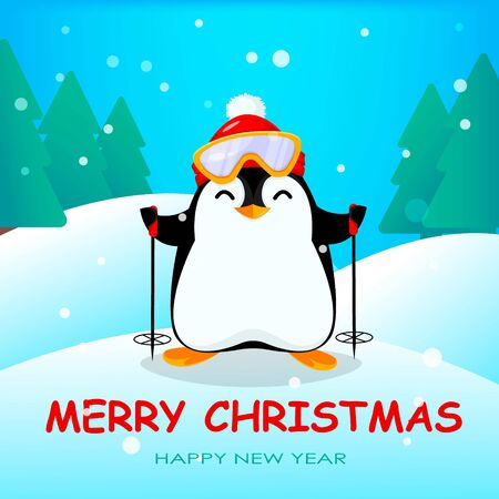 Cute little penguin in winter forest. Funny Christmas penguin cartoon character. Vector illustration. 向量圖像