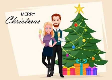 Romantic couple standing with champagne near decorated Christmas tree. Vector illustration.