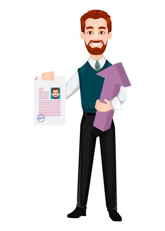 Successful business man. Handsome businessman holds resume and arrow. Cheerful cartoon character. Vector illustration on white background 向量圖像