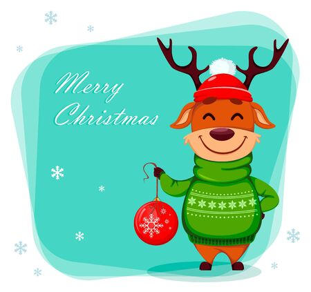 Merry Christmas greeting card with funny reindeer holding Christmas tree ball. Cute cartoon character. Vector illustration