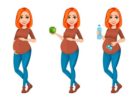 Beautiful pregnant woman, set of three poses. Cheerful pregnant lady cartoon character. Vector illustration isolated on white background