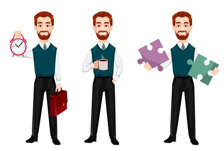 Successful business man, set of three poses. Handsome businessman holds alarm clock, holds coffee and holds puzzle. Cheerful cartoon character. Vector illustration