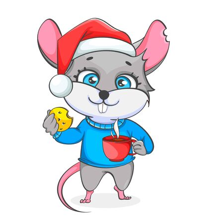 Rat in Santa hat holding cookie and a cup of coffee. Funny rat, cute cartoon character. Vector illustration on white background