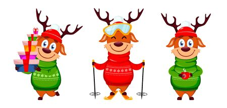 Merry Christmas. Funny reindeer, set of three poses. Cute cartoon character. Vector illustration