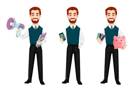 Successful business man, set of three poses. Handsome businessman holds loudspeaker, holds smartphone and holds piggy bank and credit cards. Cheerful cartoon character. Vector illustration