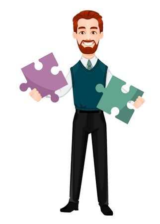 Successful business man. Handsome businessman holds two pieces of puzzle. Cheerful cartoon character. Vector illustration on white background