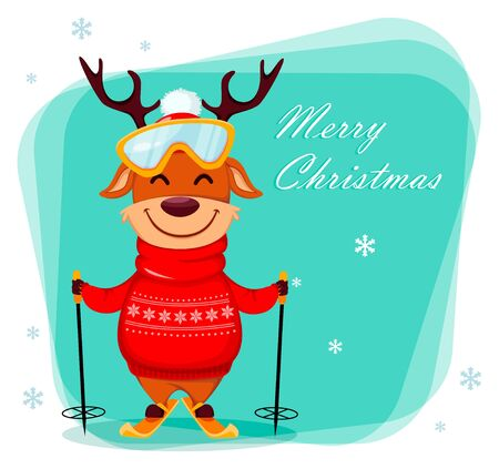 Merry Christmas greeting card with funny reindeer going to ski. Cute cartoon character. Vector illustration