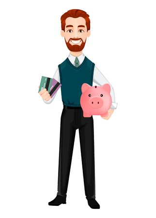 Successful business man. Handsome businessman holding credit cards and piggy bank. Cheerful cartoon character. Vector illustration on white background 向量圖像