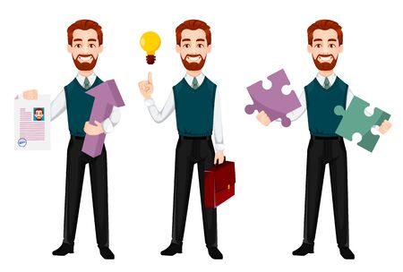 Uomo d'affari di successo, set di tre pose. L'uomo d'affari bello tiene il curriculum, ha una buona idea e tiene il puzzle. Personaggio dei cartoni animati allegro. Illustrazione vettoriale Vettoriali